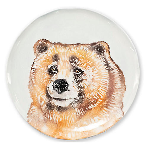 Into the Woods Bear Salad Plate, White