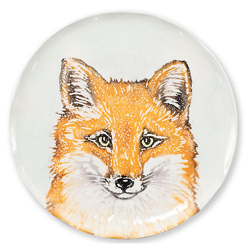 Into the Woods Fox Salad Plate, White