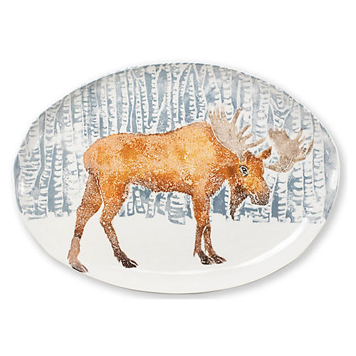 Into the Woods Moose Platter, White