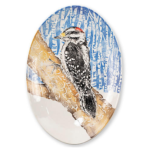 Into the Woods Wodpecker Shallow Bowl, White