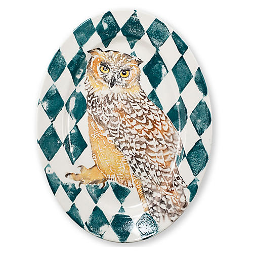 Into the Woods Owl Oval Platter, White