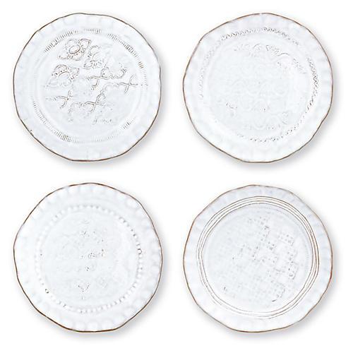 S/4 Bellezza Stone Canapé Plates, White