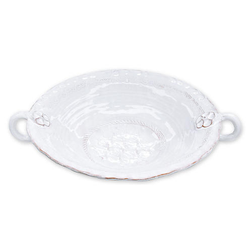 Bellezza Stone Large Handled Serving Bowl, White