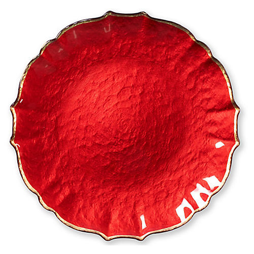 Pastel Glass Charger, Red