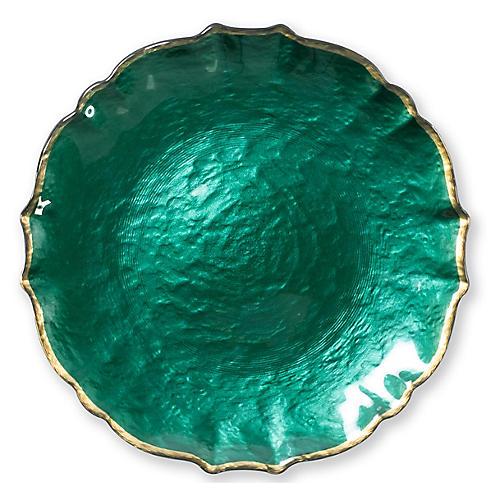Pastel Glass Salad Plate, Emerald