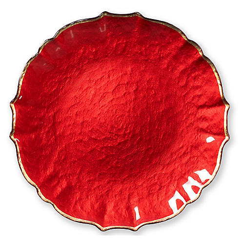 Pastel Glass Salad Plate, Red