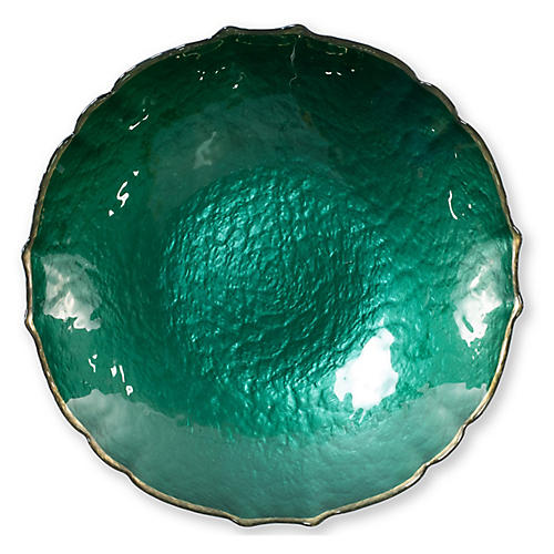 Pastel Glass Medium Bowl, Emerald