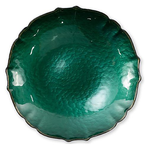 Pastel Glass Large Bowl, Emerald