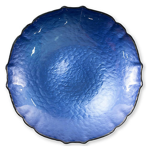 Pastel Glass Large Bowl, Cobalt