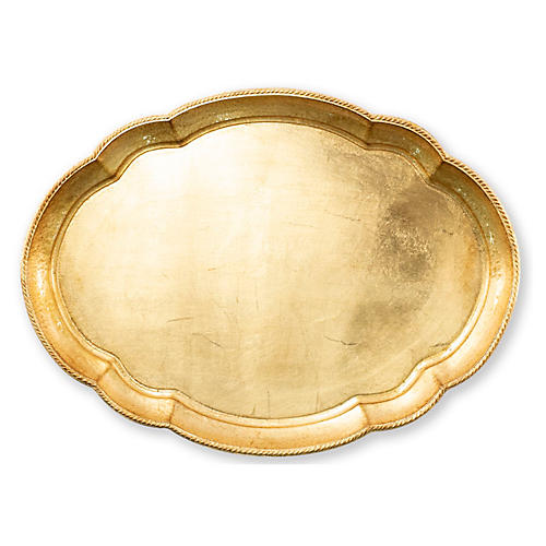 "22"" Florentine Large Tray, Gold"