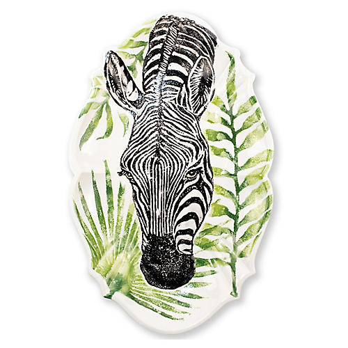 Into The Jungle Oval Zebra Platter, White