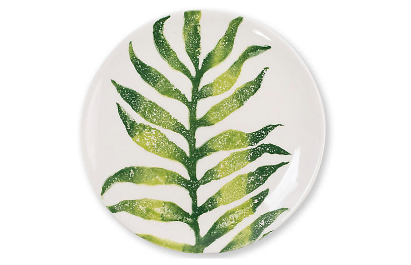 Into The Jungle Africa Palm Salad Plate, White