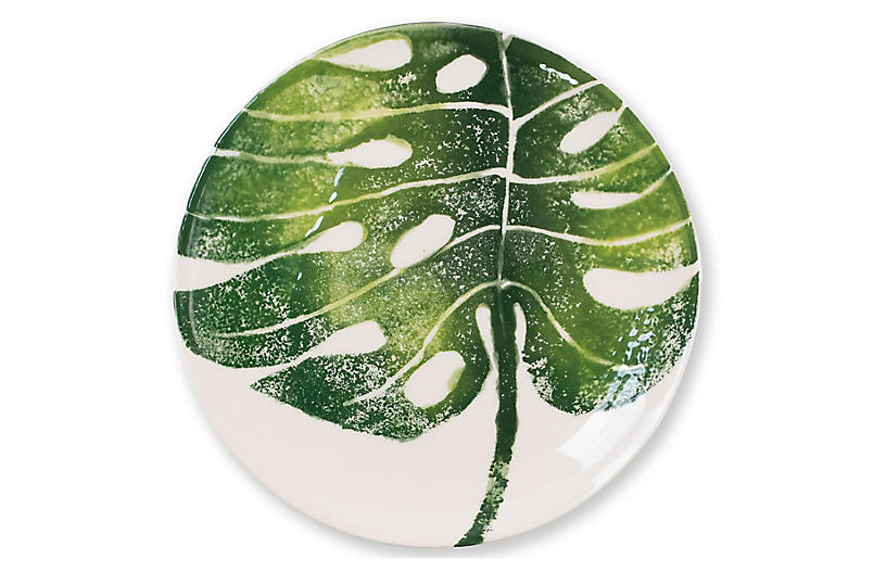 Into The Jungle Monstera Salad Plate, White