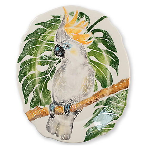 Into The Jungle Oval Cockatoo Platter, White
