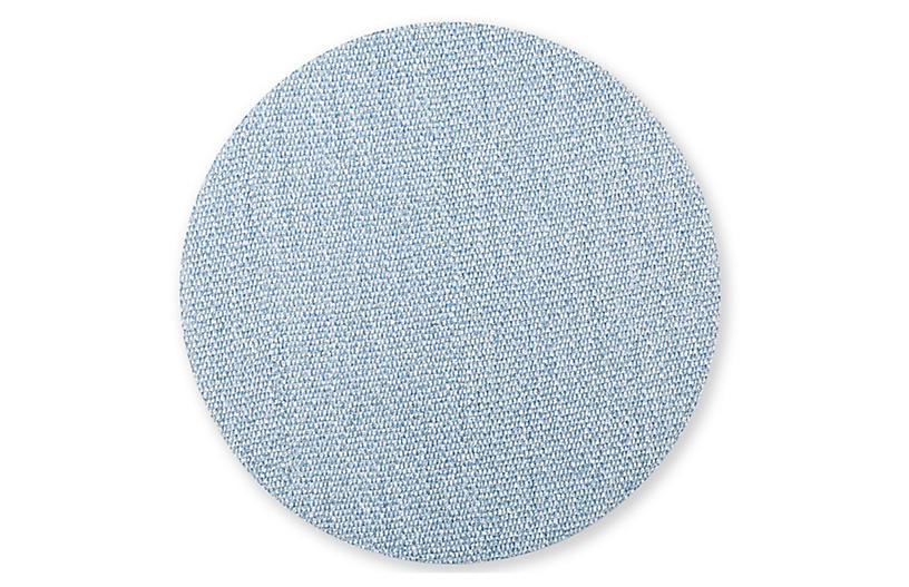 Reversible Round Place Mat, Blue/Gray
