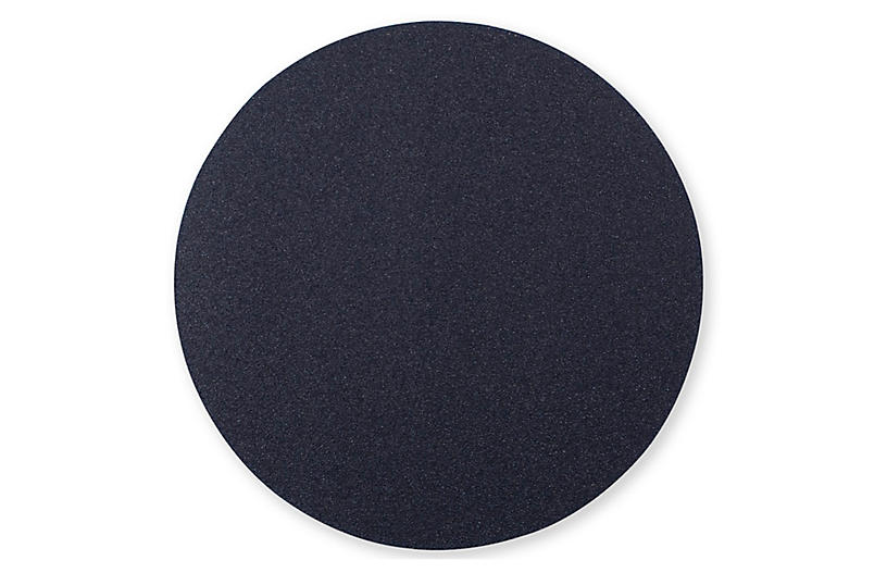 Reversible Round Place Mat, Black/Gray