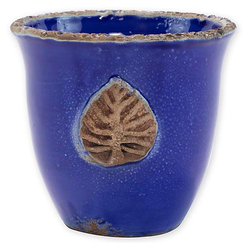 """5"""" Rustic Garden Outdoor Cachepot, Cobalt"""