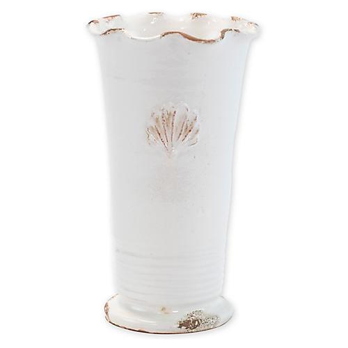 "11"" Rustic Garden Ruffle Outdoor Vase, White"