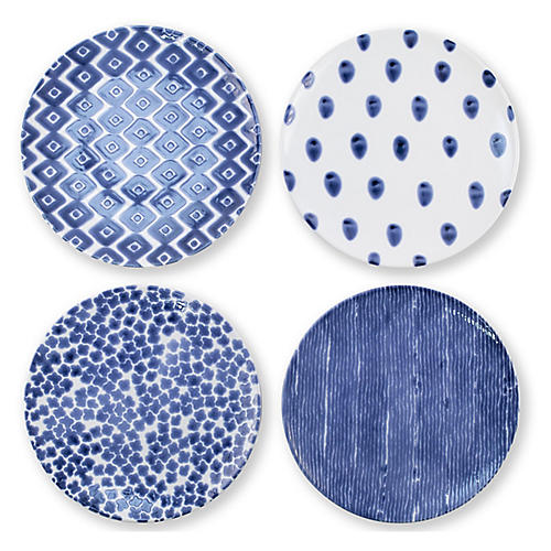 Asst. of 4 Santorini Salad Plates, Blue/White
