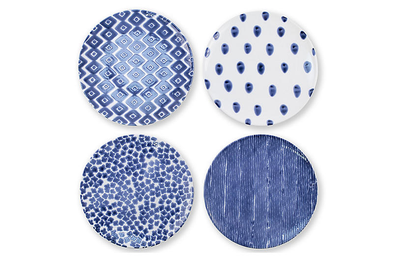 Asst. of 4 Santorini Salad Plates, Blue/White