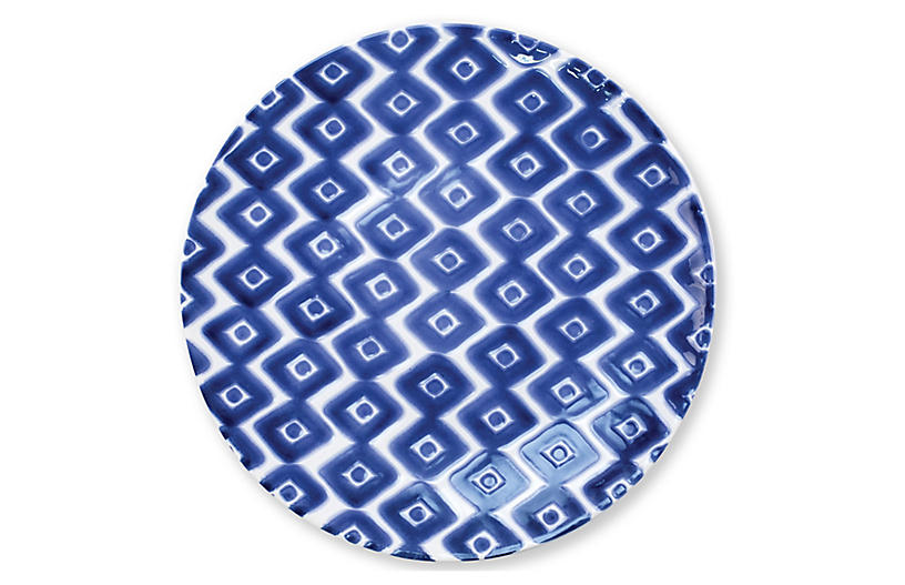 Santorini Diamond Dinner Plate, Blue/White