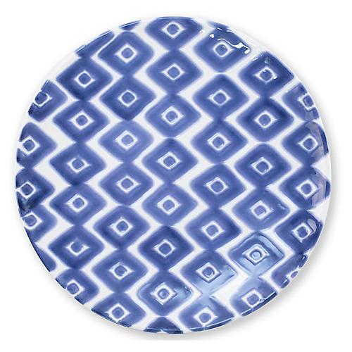 Santorini Diamond Salad Plate, Blue/White