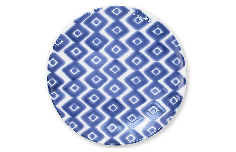 Santorini Diamond Salad Plate, Blue/White