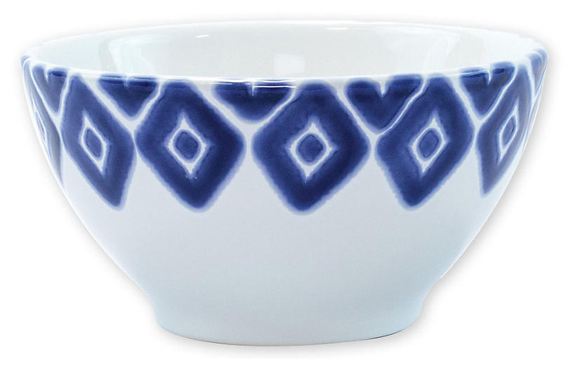 Santorini Diamond Cereal Bowl, Blue/White