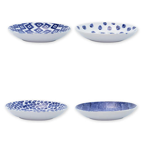 Asst. of 4 Santorini Pasta Bowls, Blue/White