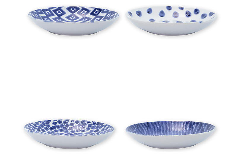Asst. of 4 Santorini Pasta Bowls, Blue/White