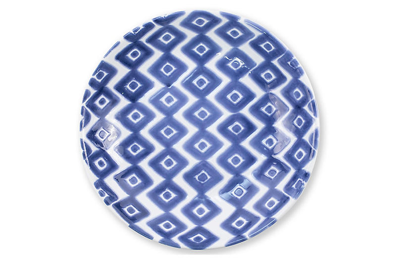 Santorini Diamond Pasta Bowl, Blue/White