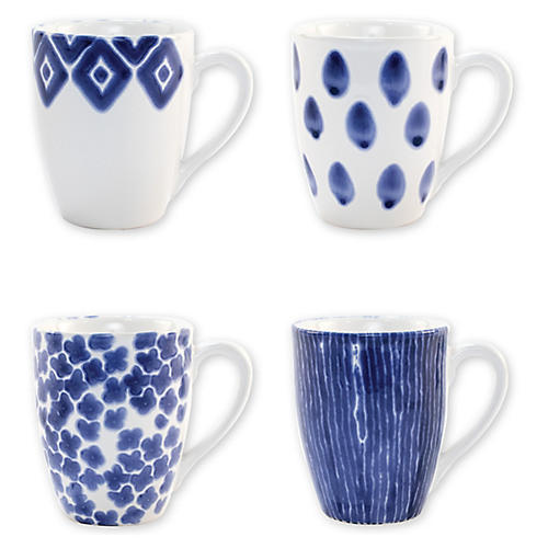 Asst. of 4 Santorini Mugs, Blue/White