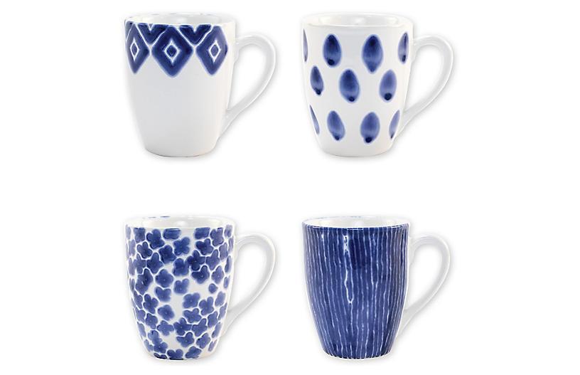 Asst. of 4 Santorini Mugs, Blue/White