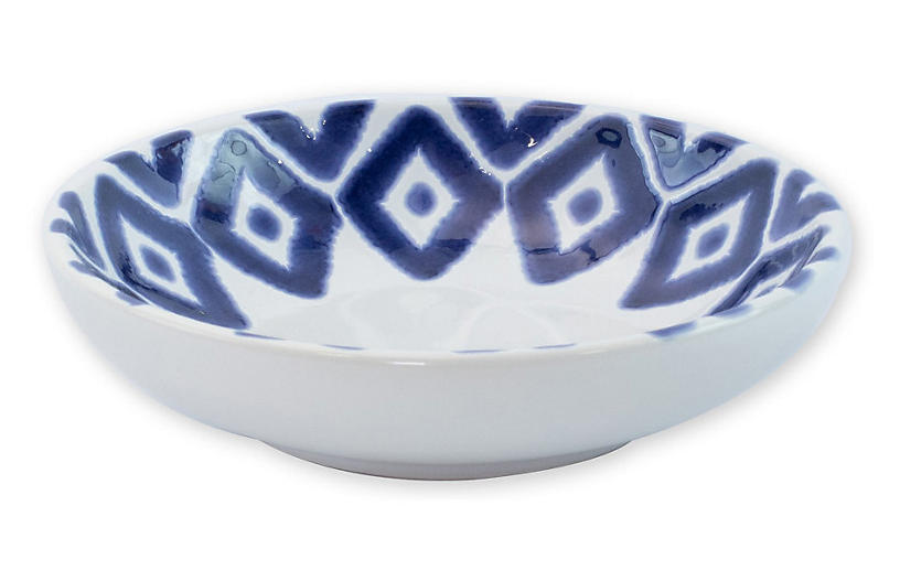 Santorini Diamond Condiment Bowl, Blue/White