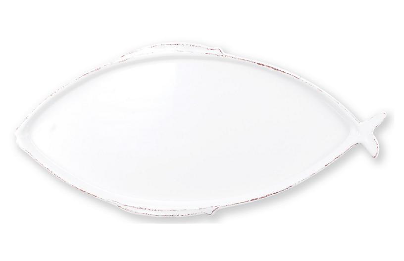 Lastra Fish Oval Melamine Platter, White