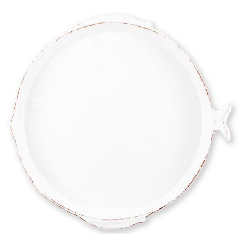 Lastra Fish Round Melamine Platter, White