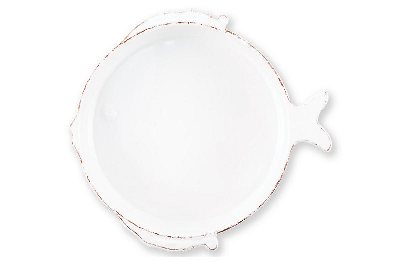 Lastra Fish Medium Melamine Serving Bowl, White
