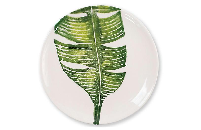 Into The Jungle Banana Leaf Salad Plate, White