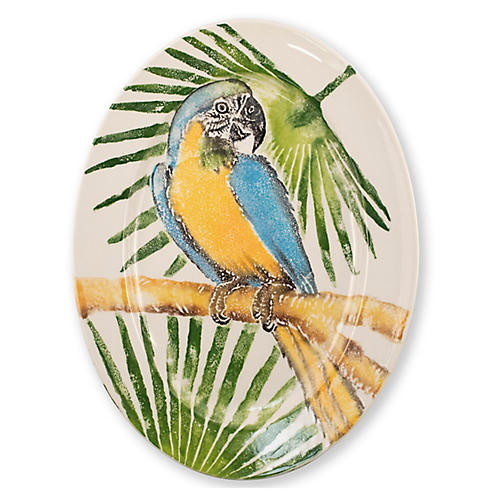 Into The Jungle Oval Parrot Platter, White