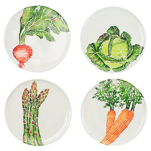 Asst. of 4 Spring Vegetables Salad Plates, White