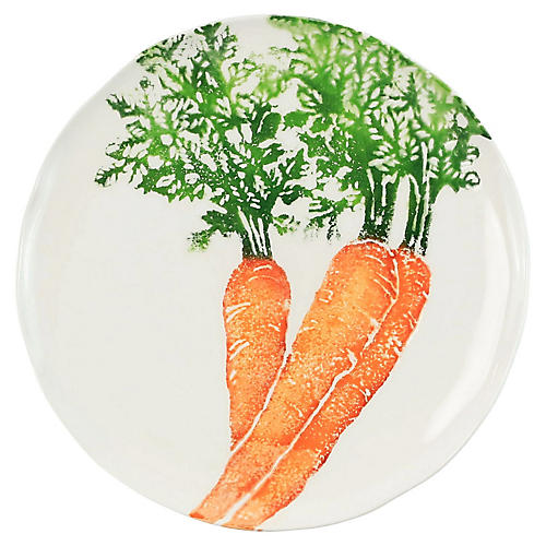 Spring Vegetables Carrot Salad Plate, White