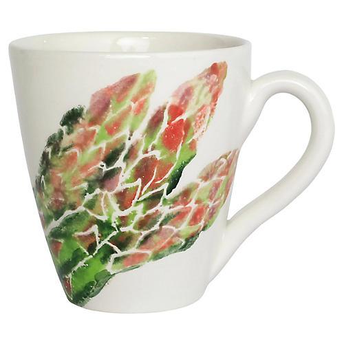 Spring Vegetables Asparagus Mug, White