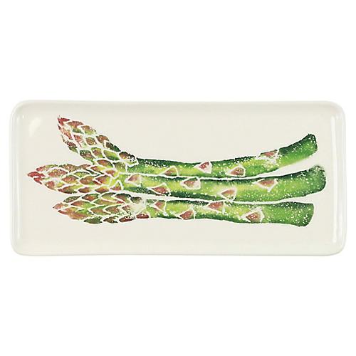 Spring Vegetables Asparagus Platter, White