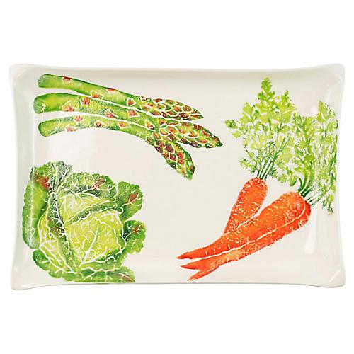 Spring Vegetables Rectangular Platter, White