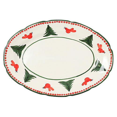 Uccelll Rosso Oval Platter, Ivory/Multi