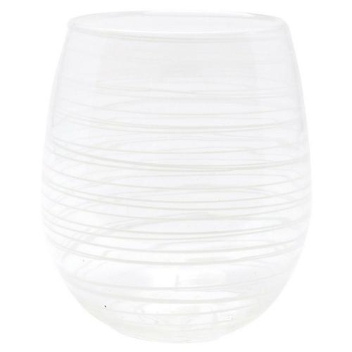 Swirl Stemless Wineglass, White