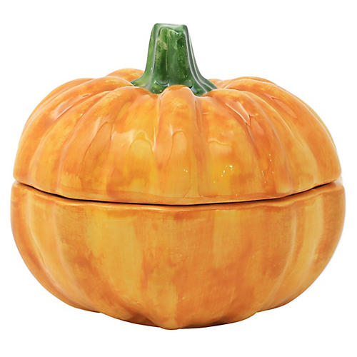 Small Covered Pumpkin Dish, Orange