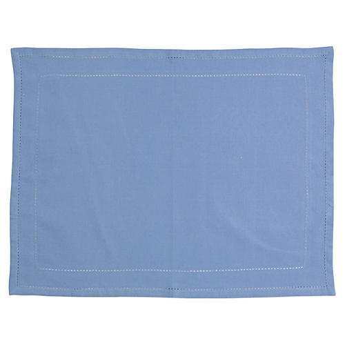 S/4 Cotone Double-Stitched Place Mats, Cornflower