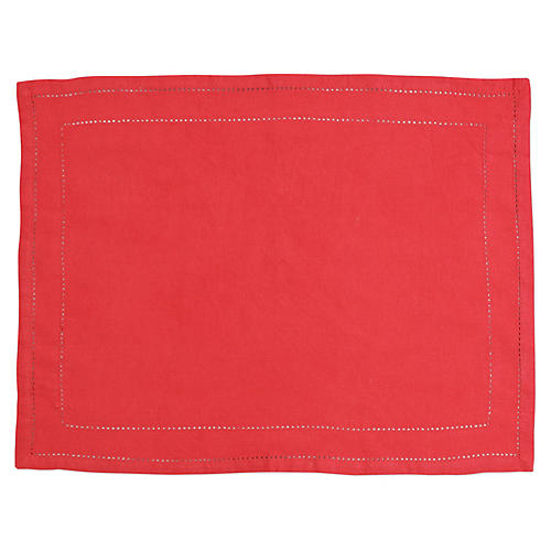 S/4 Cotone Double-Stitched Place Mats, Red