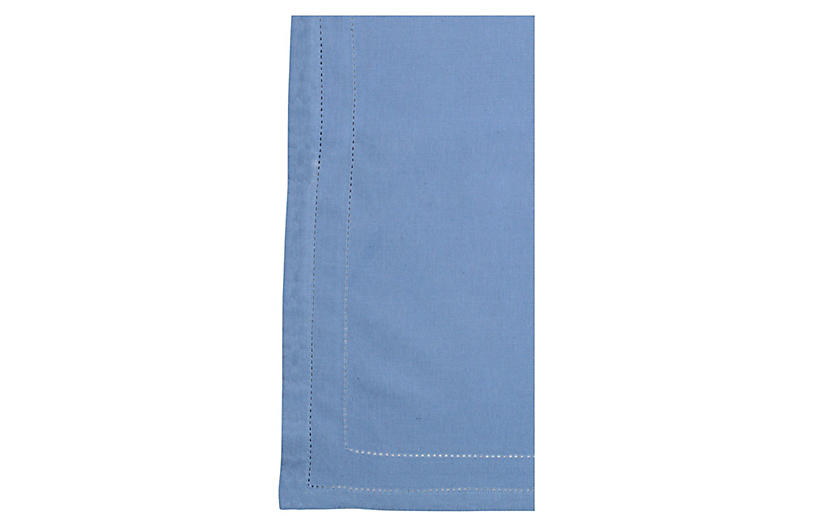 S/4 Cotone Double-Stitched Napkins, Cornflower